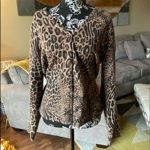 Lambs wool and Angora blend Animal print sweater